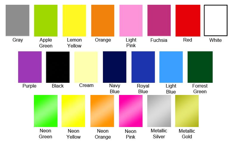 T-shirt Printing Colours